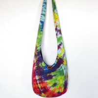 Sling Bag, Crossbody Bag, Hobo Bag, Hippie Purse, Boho Purse, Bohemian Bag, Hobo Purse, Tie Dye,Colorful, Psychedelic, Striped, Rainbow