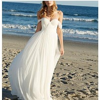 Beach Wedding Dress 2017 New Off Shoulder Short Sleeve Sexy Backless Bridal Dresses vestido de casamento robe de mariage
