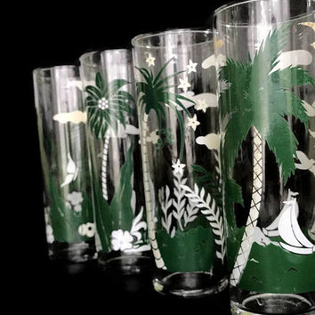 Vintage Libbey Glasses Tropical Palm Tree Tall Highball Cocktail Glasses Four Tumblers Mid Century Barware Collins Ice Tea Lemonade Glasses