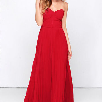 Always Charming Strapless Red Maxi Dress