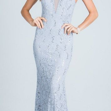 Silver Sleeveless Fit and Flare Evening Gown with Illusion Inset