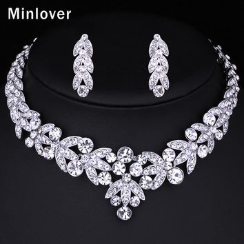 Minlover Silver Color Crystal Bridal Jewelry Sets Leaf Shape Choker Necklace Earrings Wedding Jewelry for Women TL206