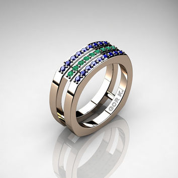 Mens Modern Classic 14K Rose Gold Blue Sapphire Emerald Cluster Formal Ring G1004-14KRGEMBS