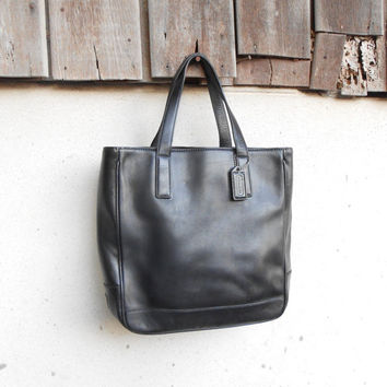 Vintage Leather Bag COACH No.GOS-7787 Black Leather Tote Hand Bag / Small / Gift for Her