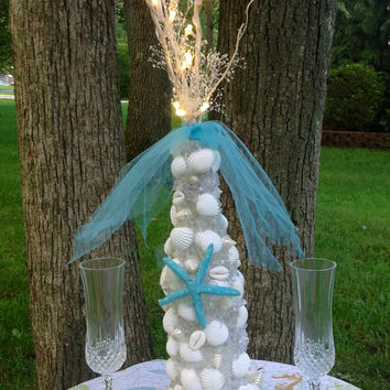 Turquoise Wedding Reception Centerpiece- Sea Shell Wedding Decor- Island Wedding Centerpiece- Seashell Beach Wedding- Sea Glass Bridal Decor