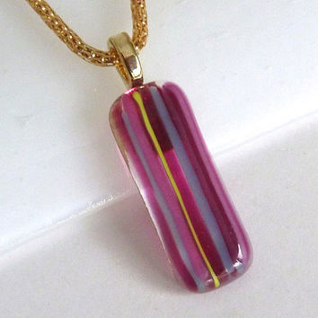 Fused Glass Pendant in Candy Stripes
