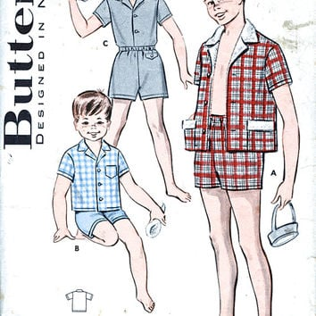 "1950's Butterick Pattern - Boys' Separates - Cabana Set - Shirt And Boxer Shorts - Vintage Sewing Pattern - Butterick 9287 - 30"" Chest"