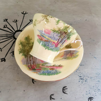 Tea Cup Aynsley Tea Cup English Countryside Teacup  Bone China Teacup Porcelain Tea Cup Trees Tea Cup Housewarming Gift Vintage Teacup
