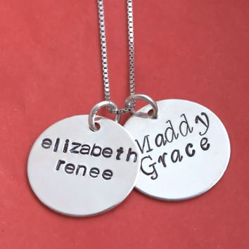 2 Medium Round Disc, Mommy Necklace, Hand Stamped Personalized Necklace