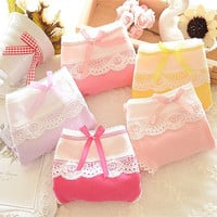 Lace Bow-Knots Panties Cute Candy Color Briefs Underwears Lolita Style Calcinha Casual 100% Cotton - rpo = 1930410628