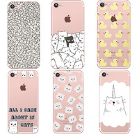 phone cases Animals cats and dogs duck Clear soft silicon TPU fundas coque case cover For Apple iphone 7 7plus 5S SE 6 6S 6plus