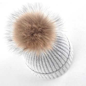 LMF9GW 100% real raccoon fur ball hats for women beanies Knitted wool cap girls Solid color casual bone winter beanie fur hats ladies