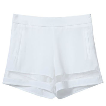 White Shorts with Hem Sheer Mesh Cut-out