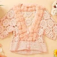 rabbit fur wool ball cutout V-neck handmade yarn cardigan