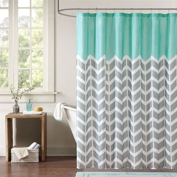 Aqua And Grey Shower Curtain Intelligent Design Ana Puckering