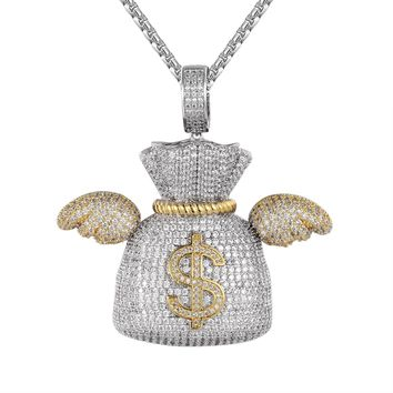 Iced Out Flying Money Dollar Bag with Wings Hip Hop Pendant