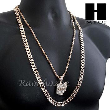 "MEN ICED OUT OHIO STATE MAP US PENDANT 30"" CUBAN LINK CHAIN NECKLACE SET S91G"