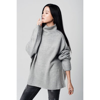 Q2 Grey oversize jersey with turtle neck and dropped shoulders