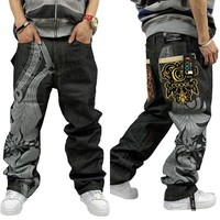 Hip-hop Fashion Men's Fashion Print Skateboard Pants Jeans [277904949277]