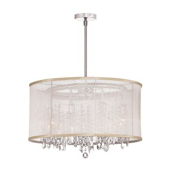 Dianolite Decorative 8 Light Crystal Chandelier, Polished Chrome, Oyster Organza Drum Shade