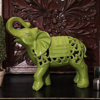 Filagree elephant, green elephant, elephant decor, green decor