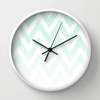 Mint Fade Chevron Wall Clock by dani