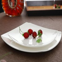 Hot sales! 10.5 inch, bone china square dish, white ceramic plate for steak / soup, buffet serving trays