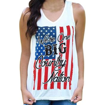 We're One Big Country Nation - American Flag Women's Tank Top