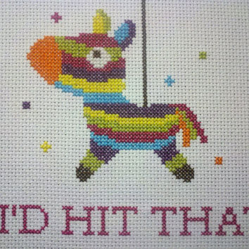 Completed,Finished Cross Stitch,Pinata,Hit That,Subversive,Funny,Humor