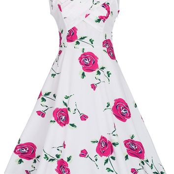 Casual Remarkable V-Neck Floral Printed Skater Dress