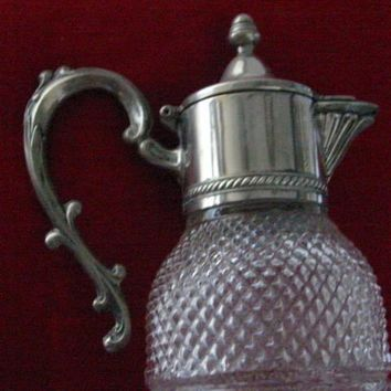 Silver Plated Diamond Cut Glass Water Pitcher Apothecary Decanter