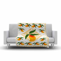 "Famenxt ""Fresh Farm Mangoes"" Orange Peach Fleece Throw Blanket"