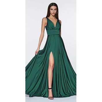 e512bf608e93 Cinderella Divine 7469 Sexy Long Prom Dress Emerald Evening Satin Gown