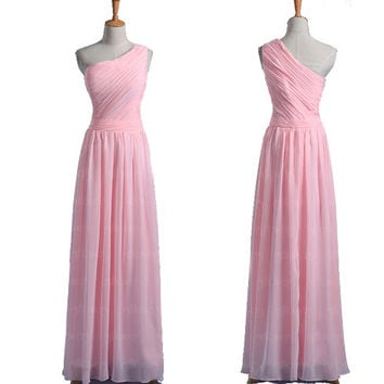 Pink bridesmaid dress, chiffon bridesmaid dress, long bridesmaid dresses, cheap bridesmaid dresses, one shoulder bridesmaid dresses, dresses