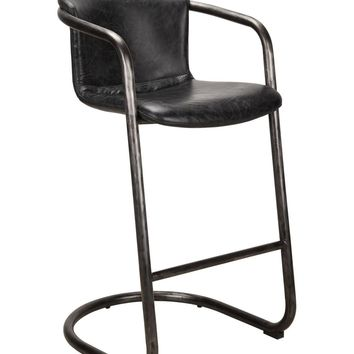 Freeman Modern Industrial Bar Stool Antique Black Distressed Leather (Set Of 2)
