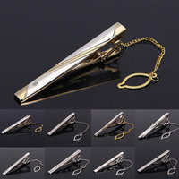 Fashion Simple Skinny Mens Suit Tie Clip for Wedding Party Alloy Tie Clip Slim Glassy Necktie Clip Clasp Pin Mens Tie Bars