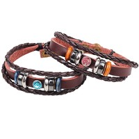 Dear Deer Fashion Blue and Pink Crystal Couple Leather Bracelet