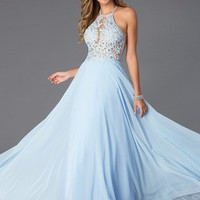 A-Line/Princess Halter Floor-Length Chiffon Prom Dress With Appliques Lace