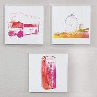 London Wall Art - Set of Three 12x12 Wall Canvases - London Room Decor, London Wall Canvases, Double Decker Bus Print, Eye of London Print