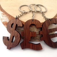 Wooden Money Symbols,  Currency Symbol Keychain, Dollar Keychain, Pound Wood, Euro Keychain, Friendly Green materials
