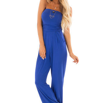Royal Blue Sleeveless Jumpsuit with Pockets