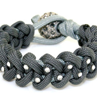 Paracord Bracelet - Grey Paracord Survival Bracelet, Clear Rhinestone Studs and a Pave Bead Clasp