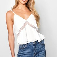 Lace Detail Woven Cami Top | Boohoo