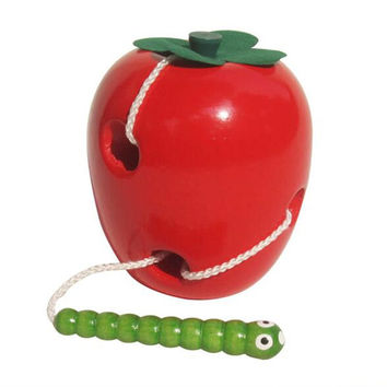 Montessori Learning&Education Children Kids Colorful Wooden Baby Worm Eat Fruit Apple Toys Red + Green 0-7 Years S156