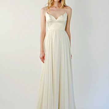 Champagne silk v-neck gown - Beulah