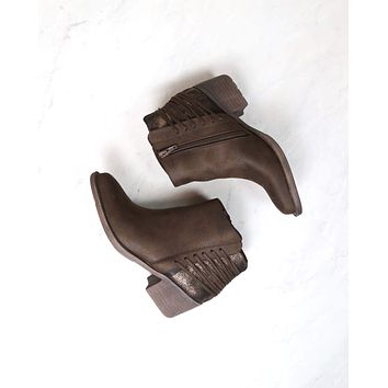 volatile - valence lace back ankle bootie - brown