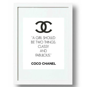 Chanel Wall Art, Chanel Logo Sign, cc Logo, Coco Chanel Quote, A4, High Res. jpg and pdf,  PLUS FREE GIFT