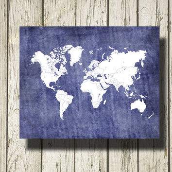 WORLD MAP Printable Instant Download Lavender Burlap and White Print Poster Home Decor Wall Art CI012