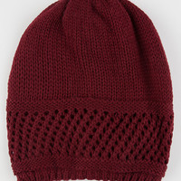 Open Knit Band Beanie Burgundy One Size For Women 26409732001