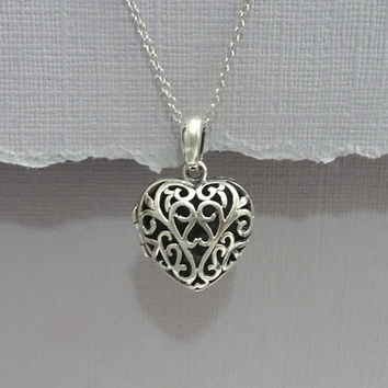 Sterling Silver Heart Locket, Locket Necklace, Sterling Silver Locket, Gift for Her, Gift for Mom